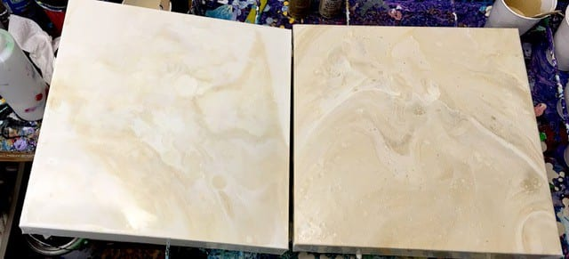 Subtle white and off white acrylic pour