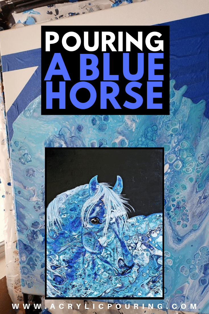 Embellishing a Blue Horse Painting