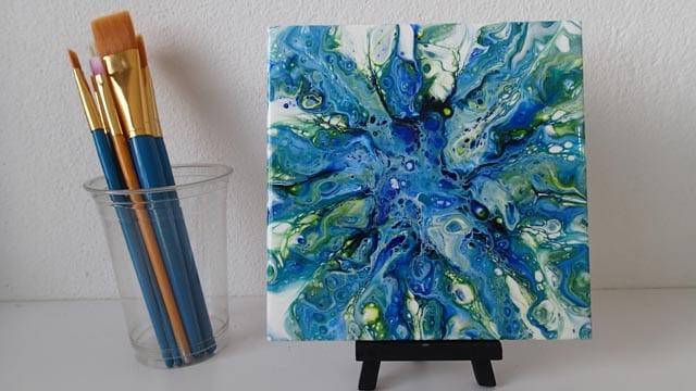 acrylic pouring fluid art painting dutch pour blow pour technique example