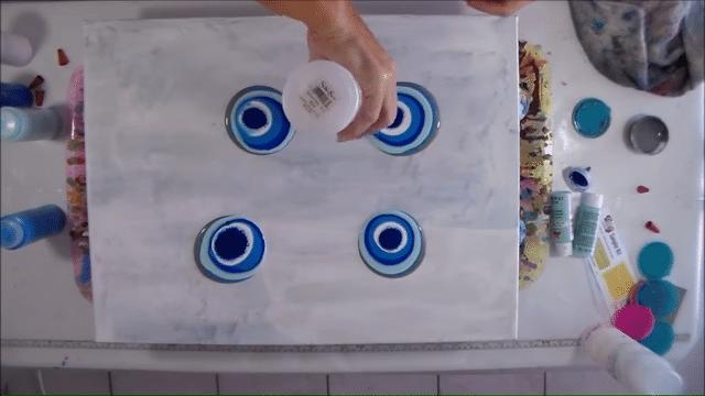 fluid acrylic painting pouring technique puddle pour step