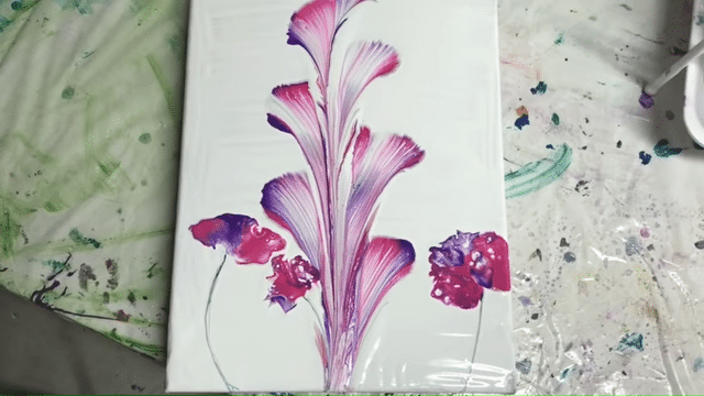 acrylic pouring fluid art painting string pull technique flower example