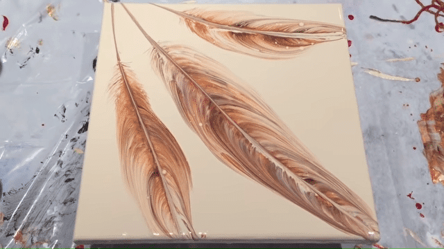 acrylic pouring fluid art painting technique string pull feather example