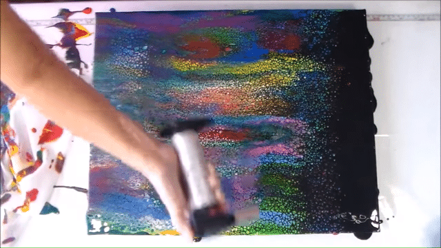 acrylic pouring swipe torch technique