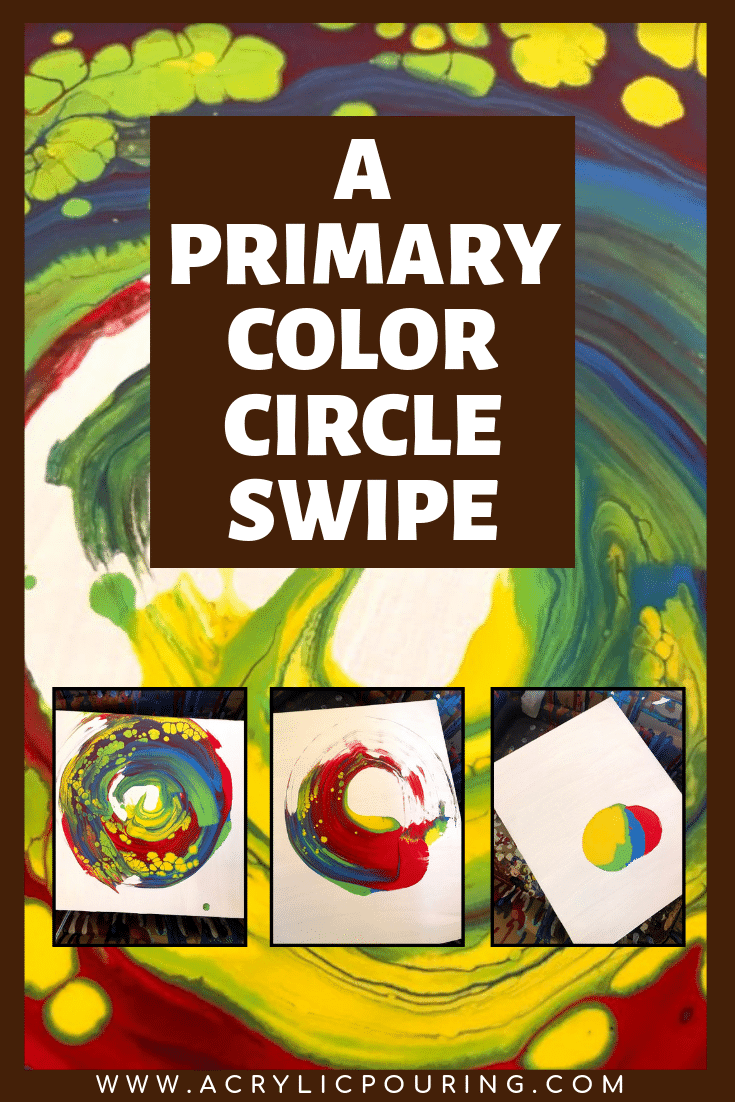 This is how primary colors turn into a beautiful art using a circle swipe technique. #acrylicpouring #acrylicpaint #primarycolors #technique #circleswipe #red #blue #yellow #swipe #swipepainting