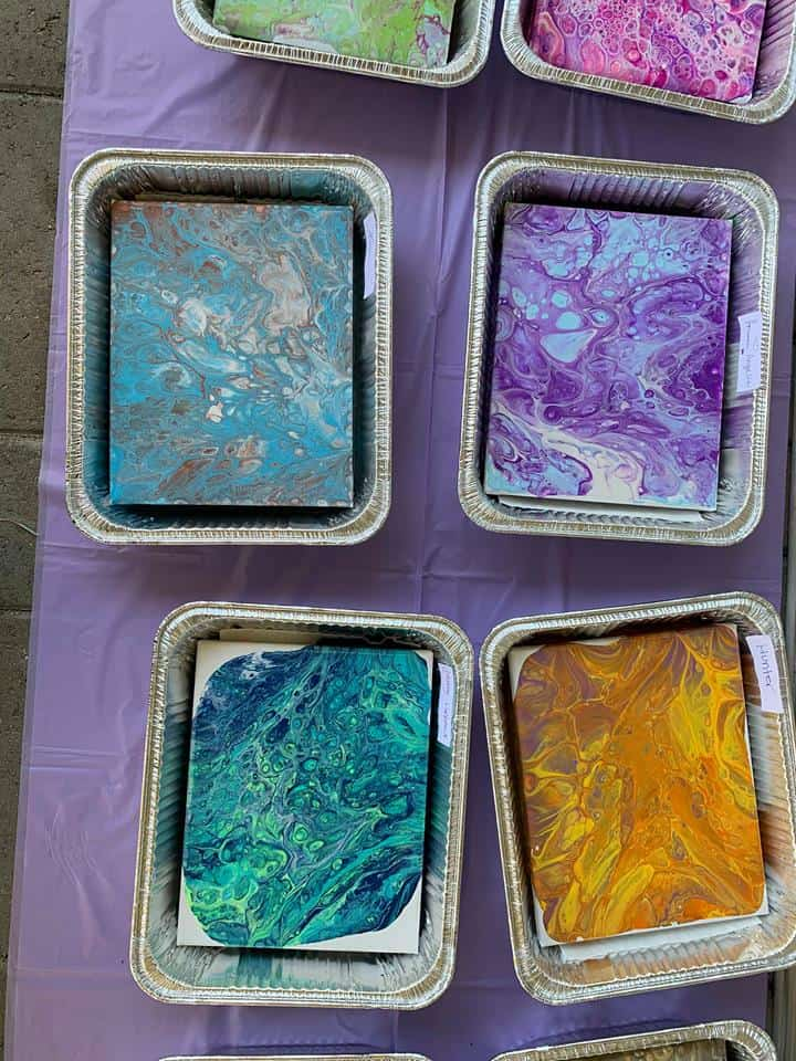 Acrylic pouring event paintings