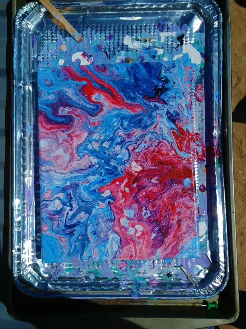 Acrylic Pour Red white blue