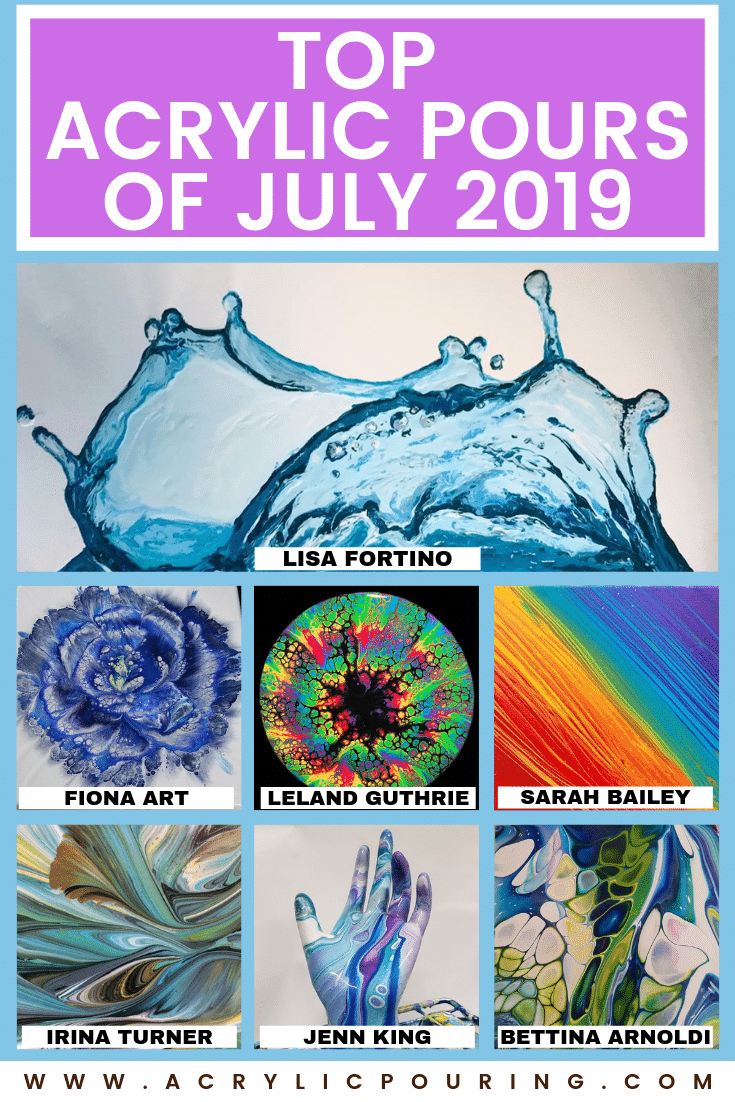 Top acrylic pours of July 2019 swipe straight pour marble string pull