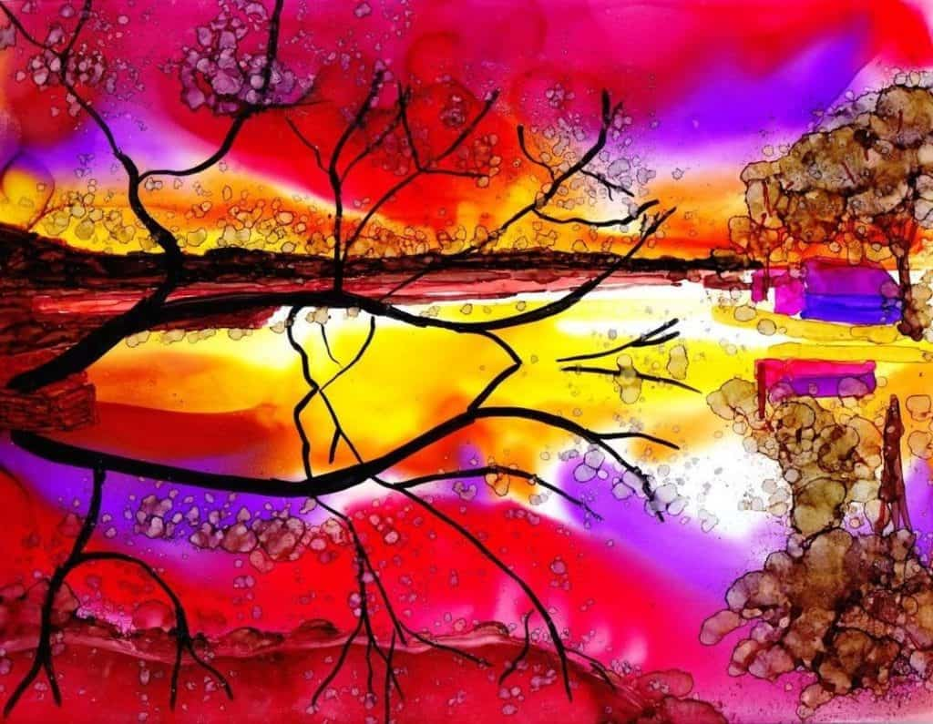 Alcohol Ink Sunset