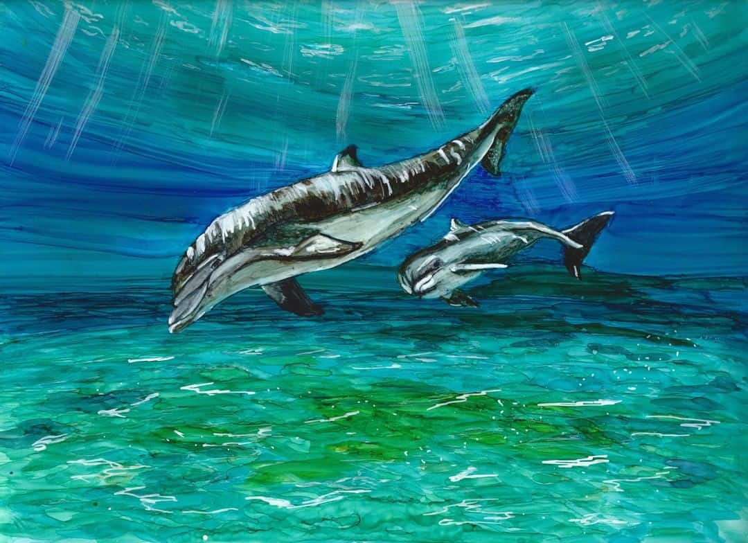 Alcohol Ink Dolphin