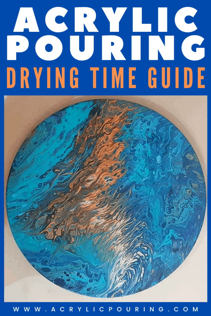 Your acrylic pouring should get the right drying time to get the perfect result you wanted. There are so many factors that go into drying a painting properly, and the time it takes to dry the painting seems to vary from artist to artist! The best way to make sure your painting is dry is to wait. If you're not sure if the painting is dry, wait a bit longer. Time is your friend when it comes to paint curing, and a little patience and forward planning with things like air movement and ambient temperature will give your piece the best chance for success!