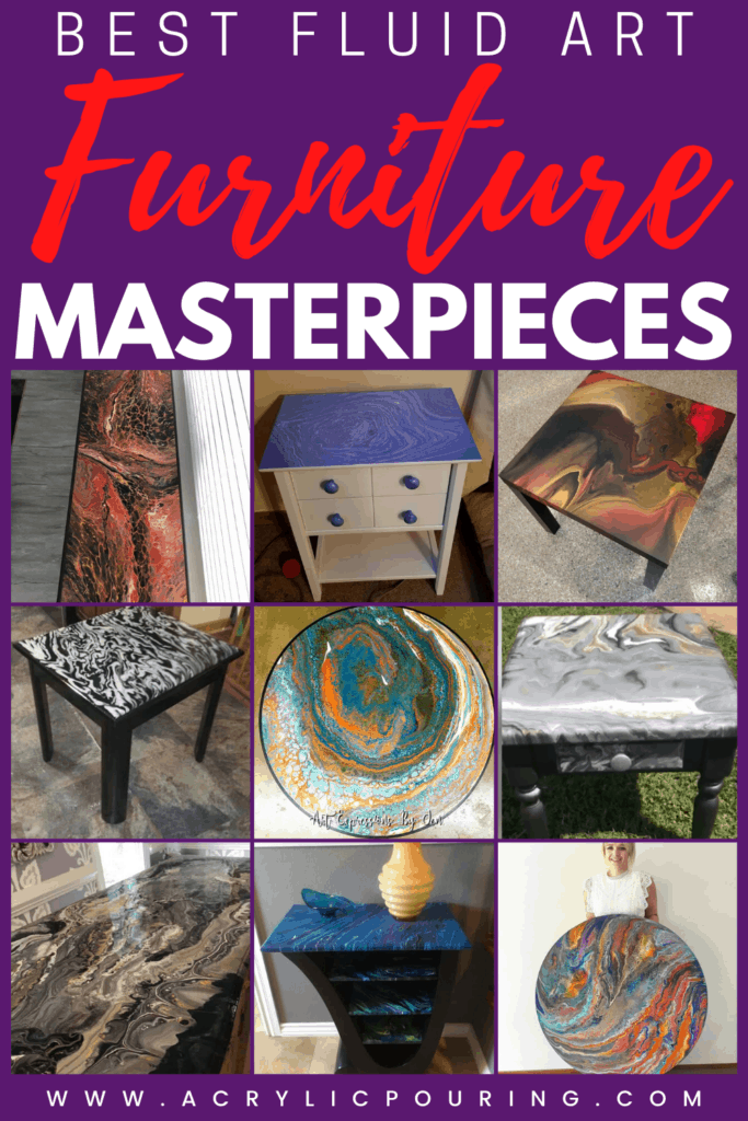 Get inspired by the best acrylic pouring fluid art furniture masterpieces. Start making your own furniture masterpiece. #acrylicpouring #fluidart #acrylicfurniture #pouringmasterpiece